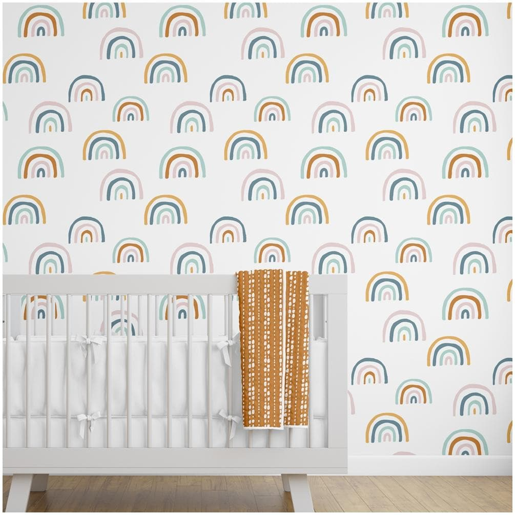 neutral rainbow removable wallpaper wallpaper modified tot