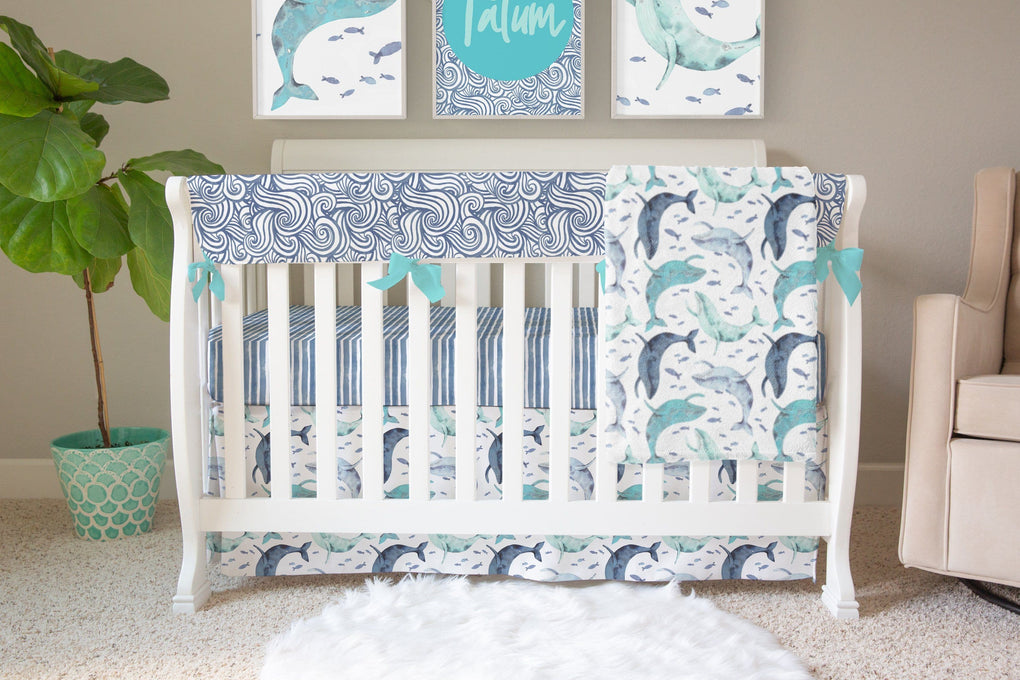Oh Whale! Crib Skirt Crib Skirt Modified Tot
