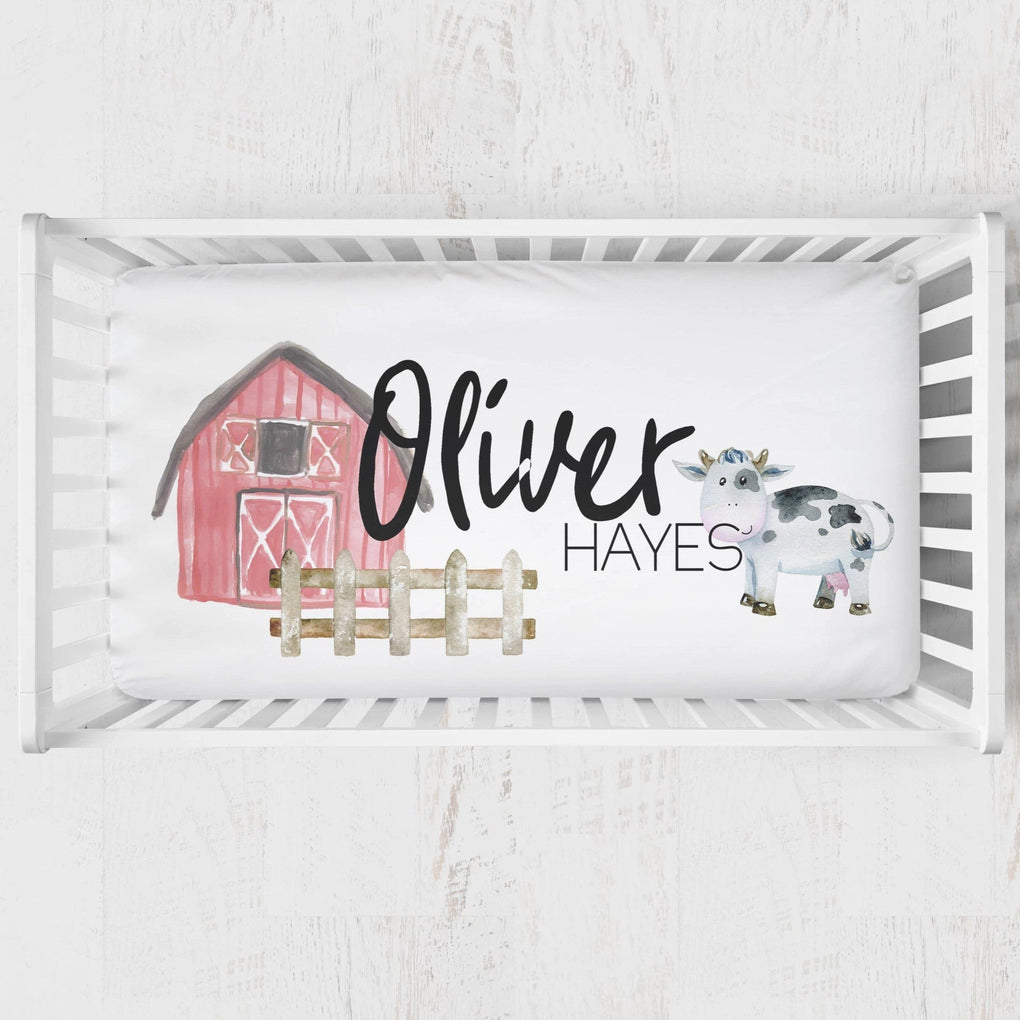 On the Farm Personalized Crib Sheet Crib Sheet Modified Tot