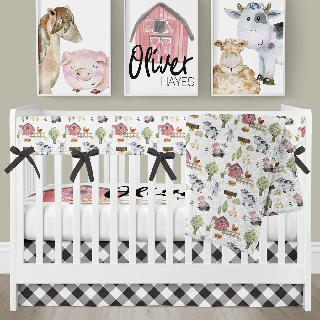 On the Farm Rail Guard Crib Bedding (3 or 4 Pcs Set) Crib Bedding Modified Tot