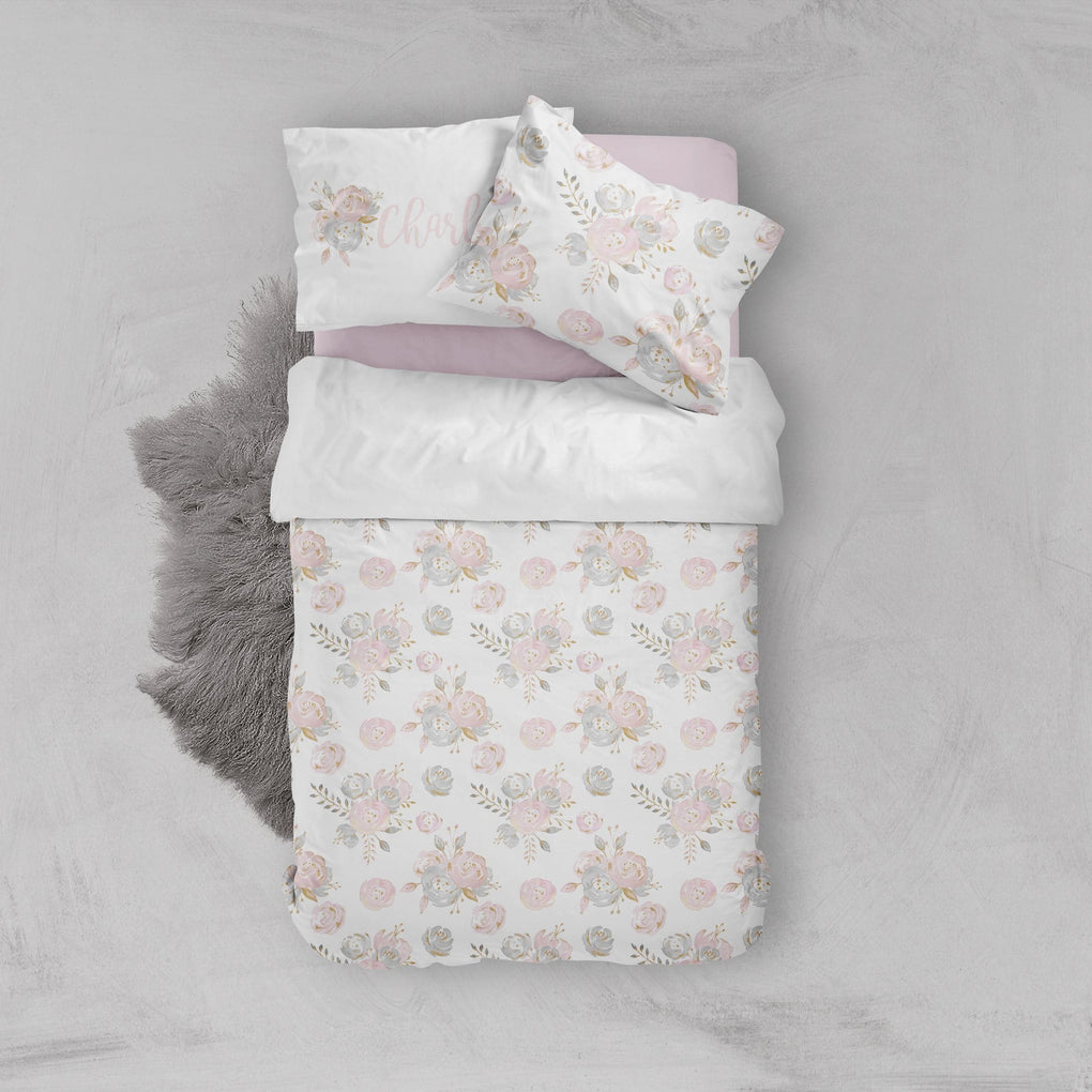 Personalized Blush Gold Floral Big Kid Bedding Set Big Kid Bedding Modified Tot