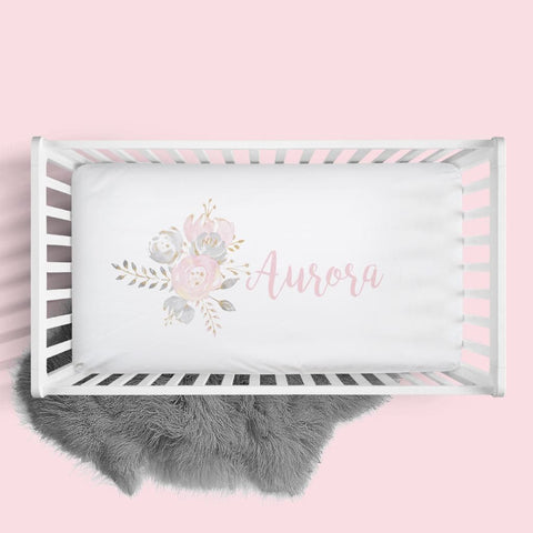 Personalized Blush & Gold Floral Crib Sheet Changing Pad Covers Modified Tot