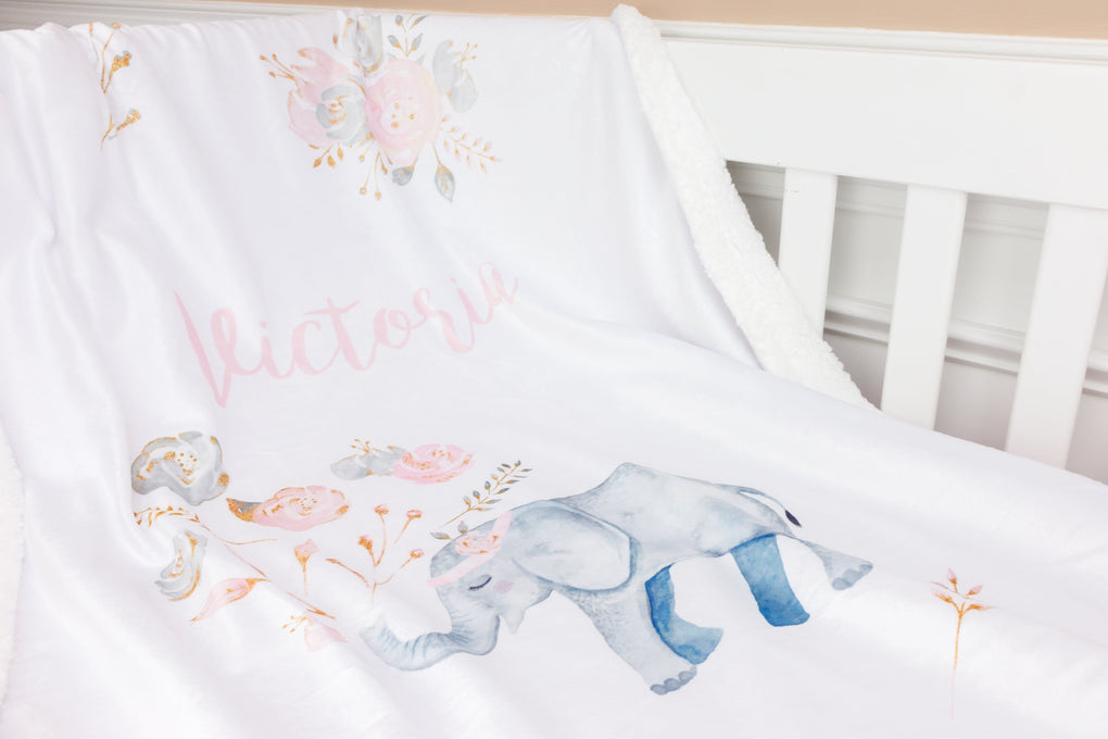 Personalized Blush Gold Floral Elephant Minky Blanket Minky Blanket Modified Tot