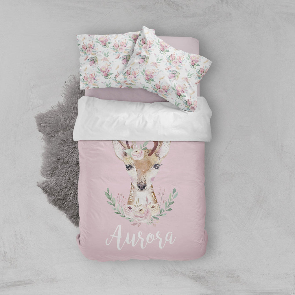 Personalized Boho Deer Big Kid Bedding Set Big Kid Bedding Modified Tot