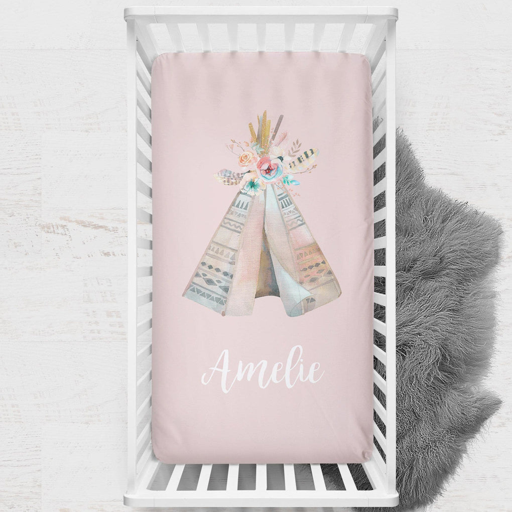 Personalized Boho Teepee Crib Sheet Crib Sheet Modified Tot