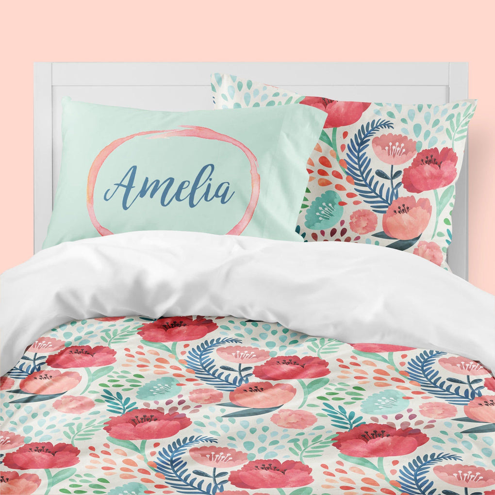 Personalized Bright Poppy Floral Big Kid Bedding Set Big Kid Bedding Modified Tot