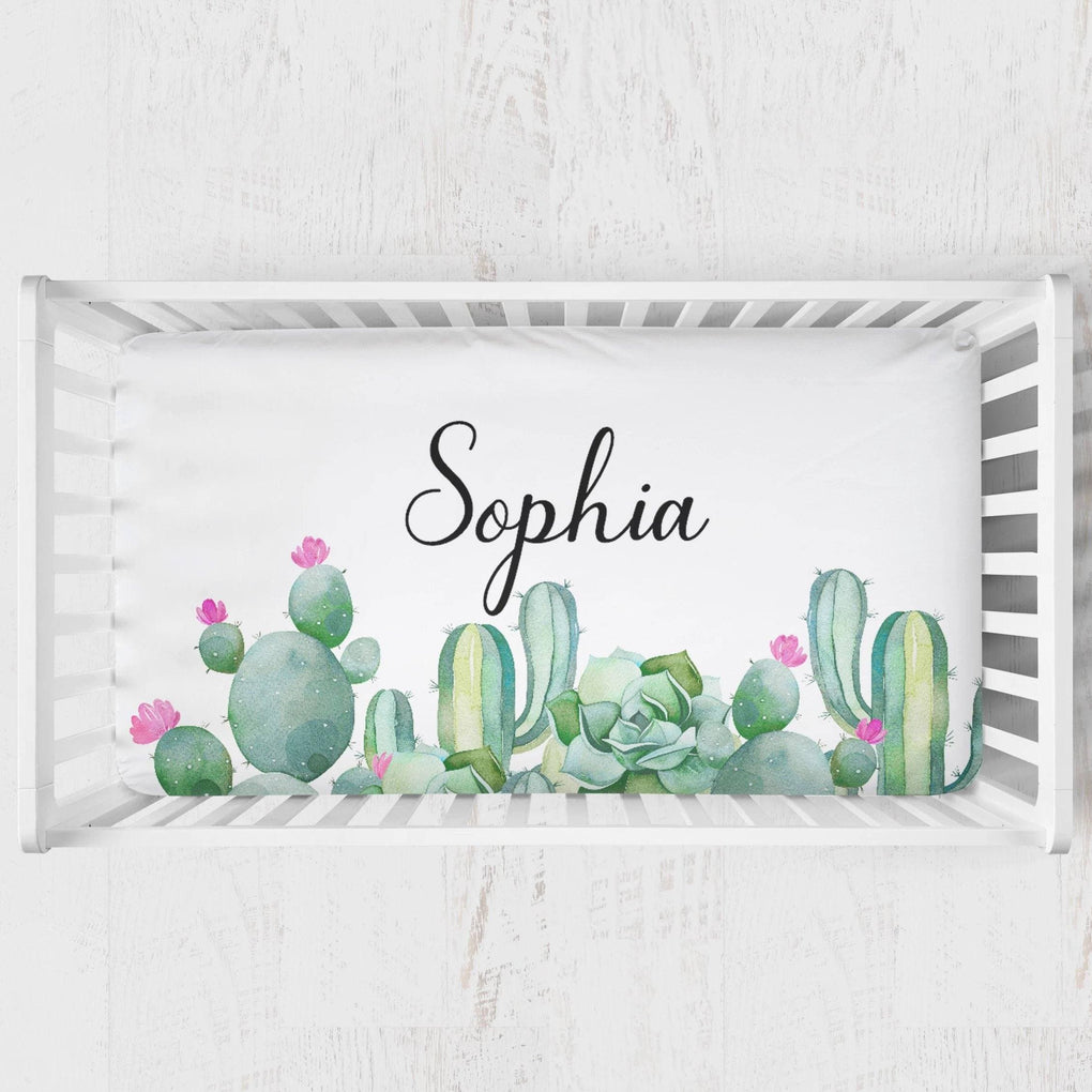 Personalized Cactus Crib Sheet Crib Sheet Modified Tot
