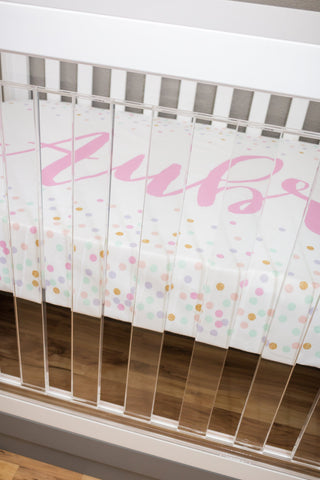 Personalized Confetti Crib Sheet Changing Pad Covers Modified Tot