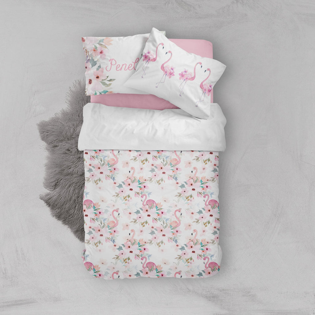Personalized Flamingo Floral Big Kid Bedding Set Big Kid Bedding Modified Tot