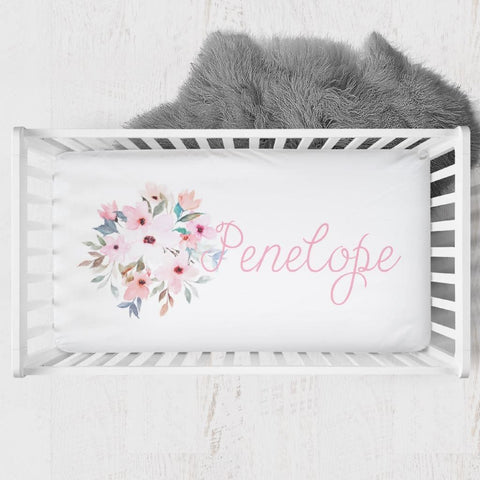 Personalized Floral Crib Sheet Changing Pad Covers Modified Tot