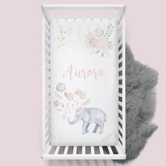 Personalized Floral Elephant Crib Sheet Changing Pad Covers Modified Tot