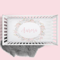 Personalized Floral Wreath Crib Sheet Changing Pad Covers Modified Tot