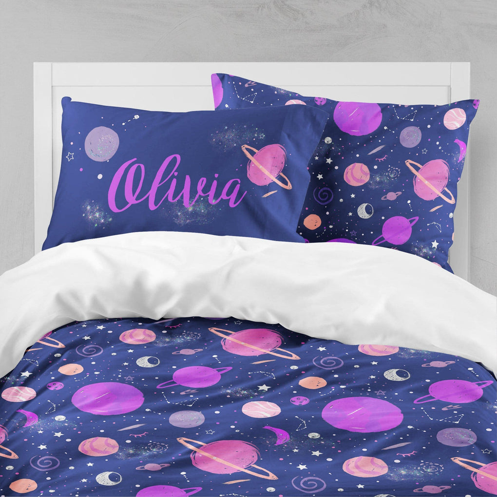 Personalized Girl Outer Space Big Kid Bedding Set Big Kid Bedding Modified Tot
