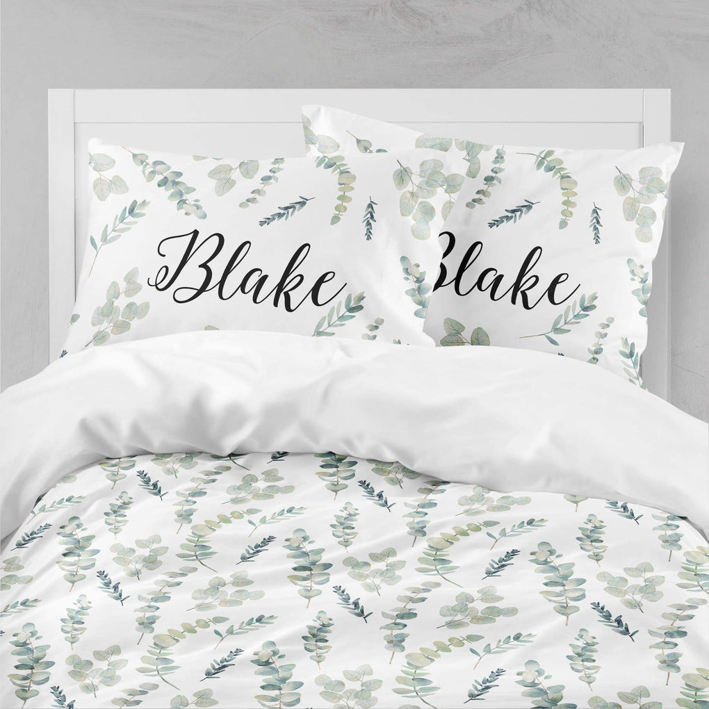 Personalized Greenery Big Kid Bedding Set Big Kid Bedding Modified Tot
