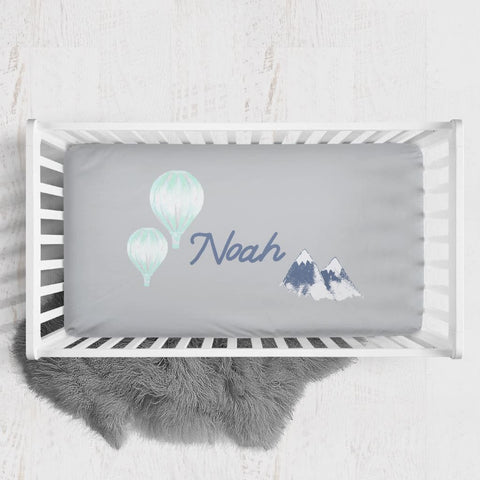 Personalized Hot Air Balloon Crib Sheet Changing Pad Covers Modified Tot