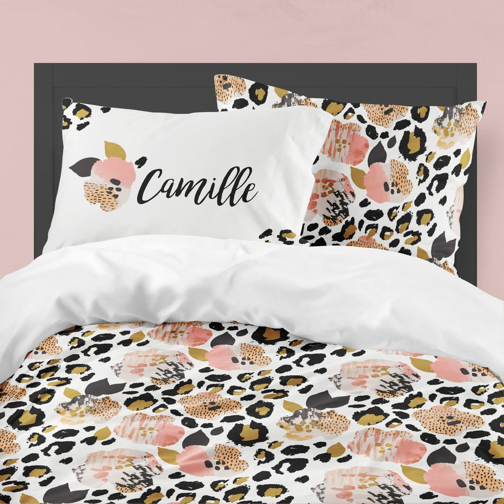 Personalized Leopard Love Floral Big Kid Bedding Set Big Kid Bedding Modified Tot