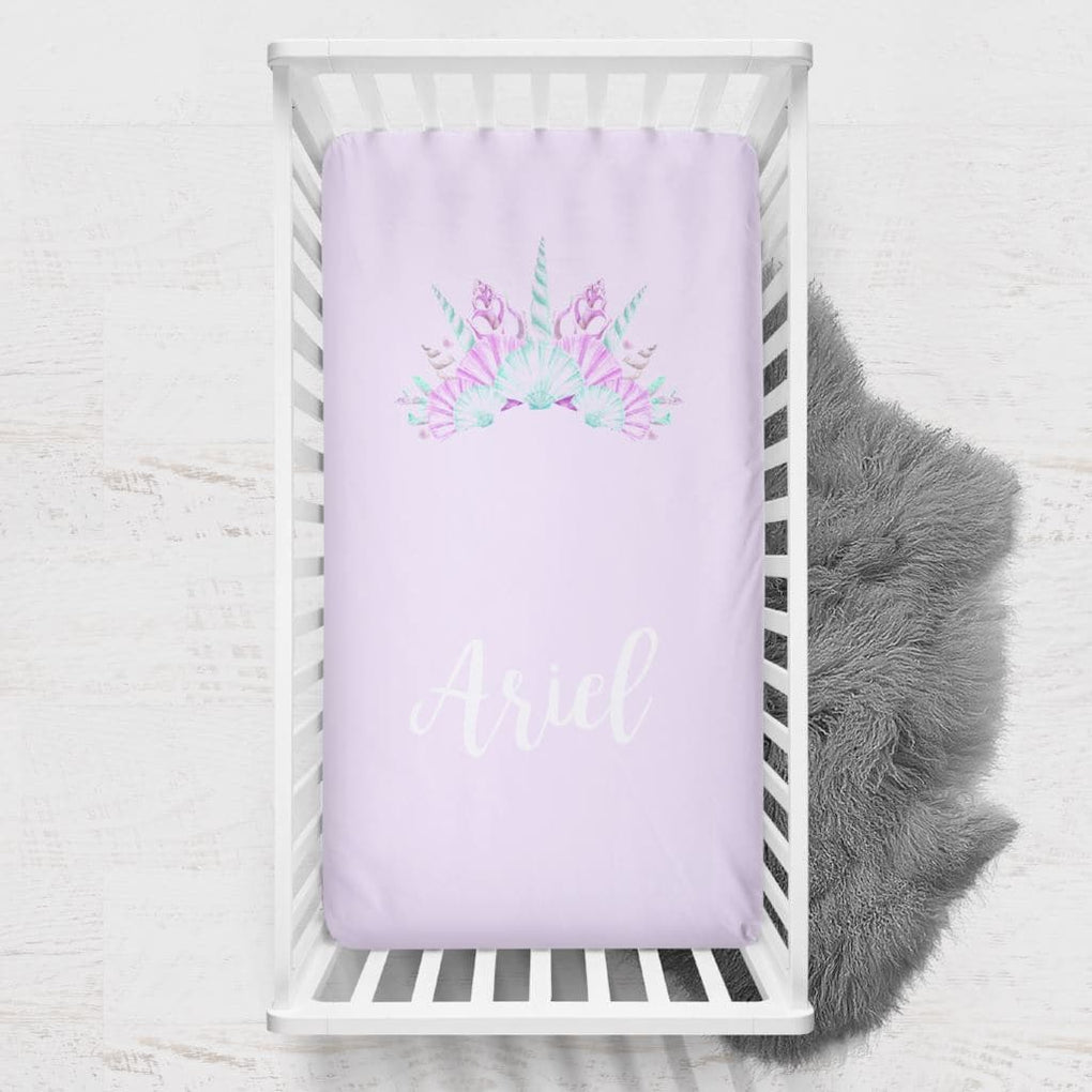 Personalized Mermaid Crown Crib Sheet Changing Pad Covers Modified Tot