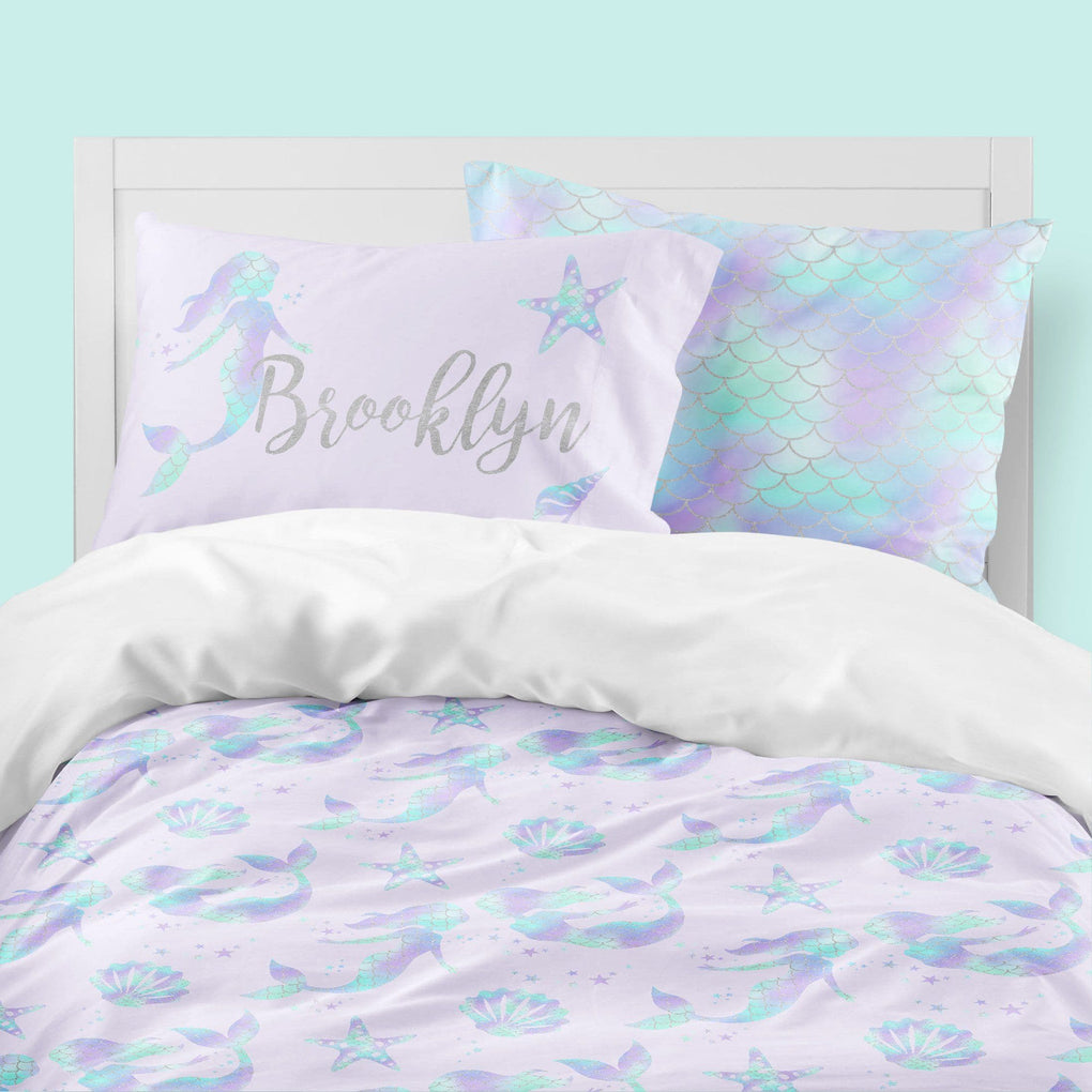 Personalized Mermaid Love Big Kid Bedding Set Big Kid Bedding Modified Tot