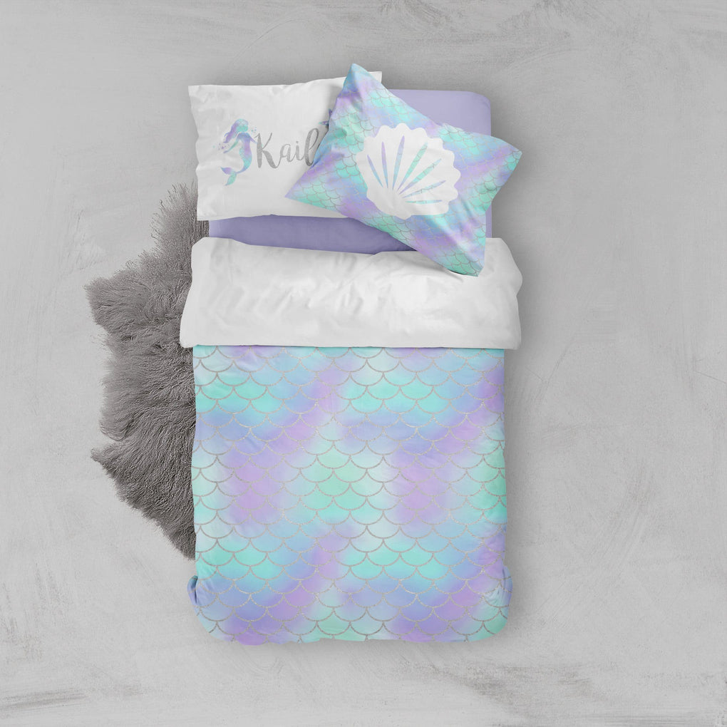 Personalized Mermaid Scale Big Kid Bedding Set Big Kid Bedding Modified Tot