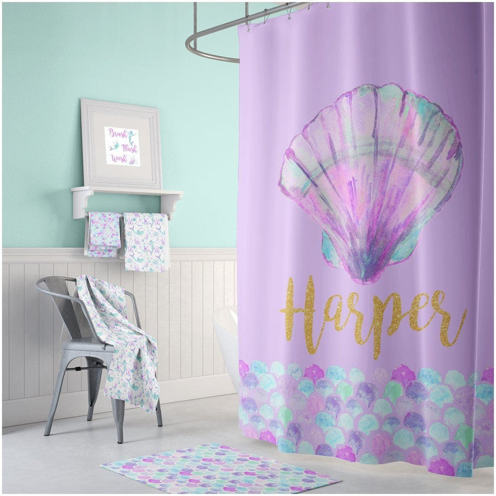 Personalized Mermaid Shell Bathroom Collection Bathroom Collection Modified Tot
