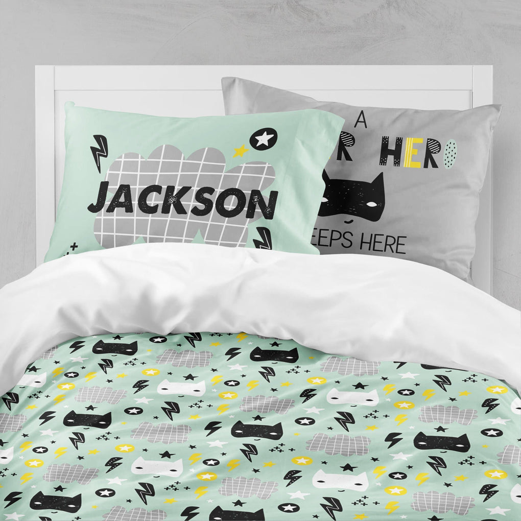 Personalized Mint Super Hero Big Kid Bedding Set Big Kid Bedding Modified Tot