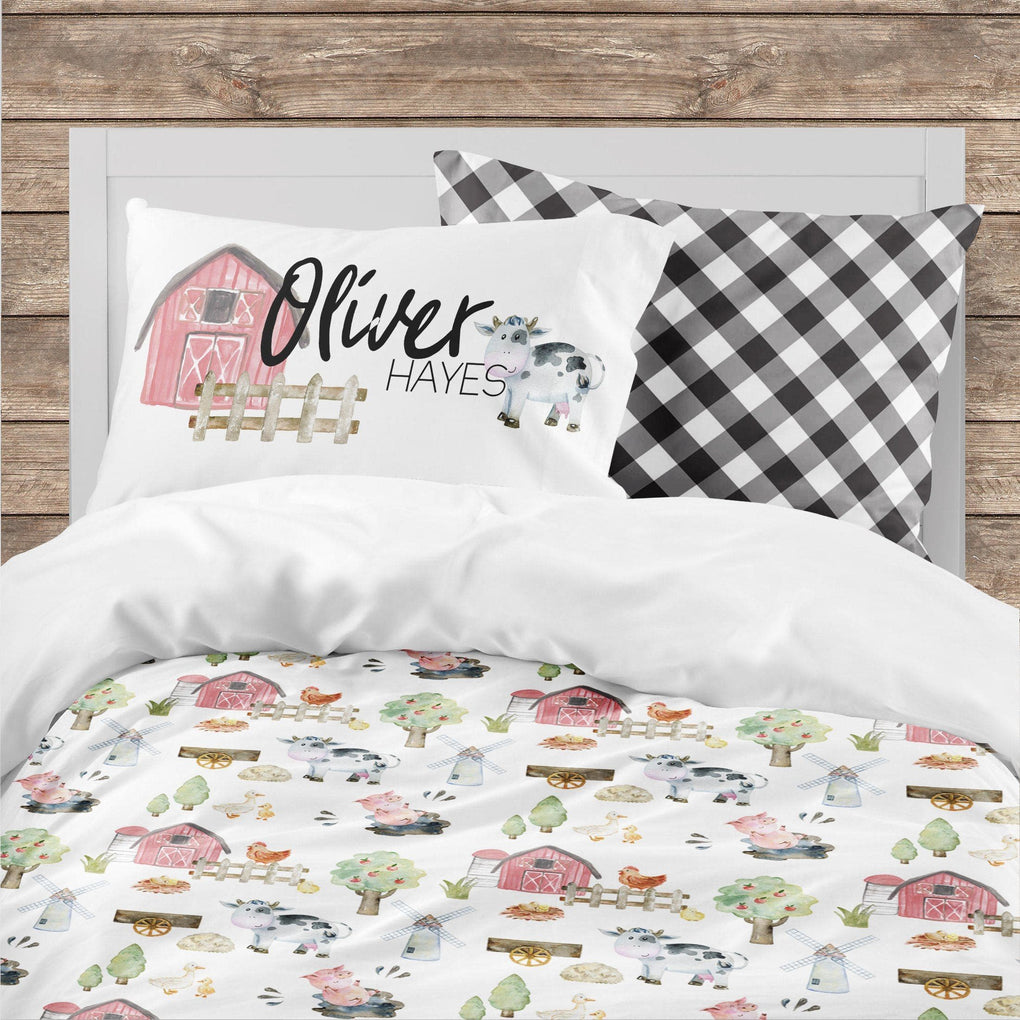 Personalized On the Farm Big Kid Bedding Set Big Kid Bedding Modified Tot