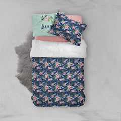 Personalized Pink and Navy Petals Big Kid Bedding Set Big Kid Bedding Modified Tot