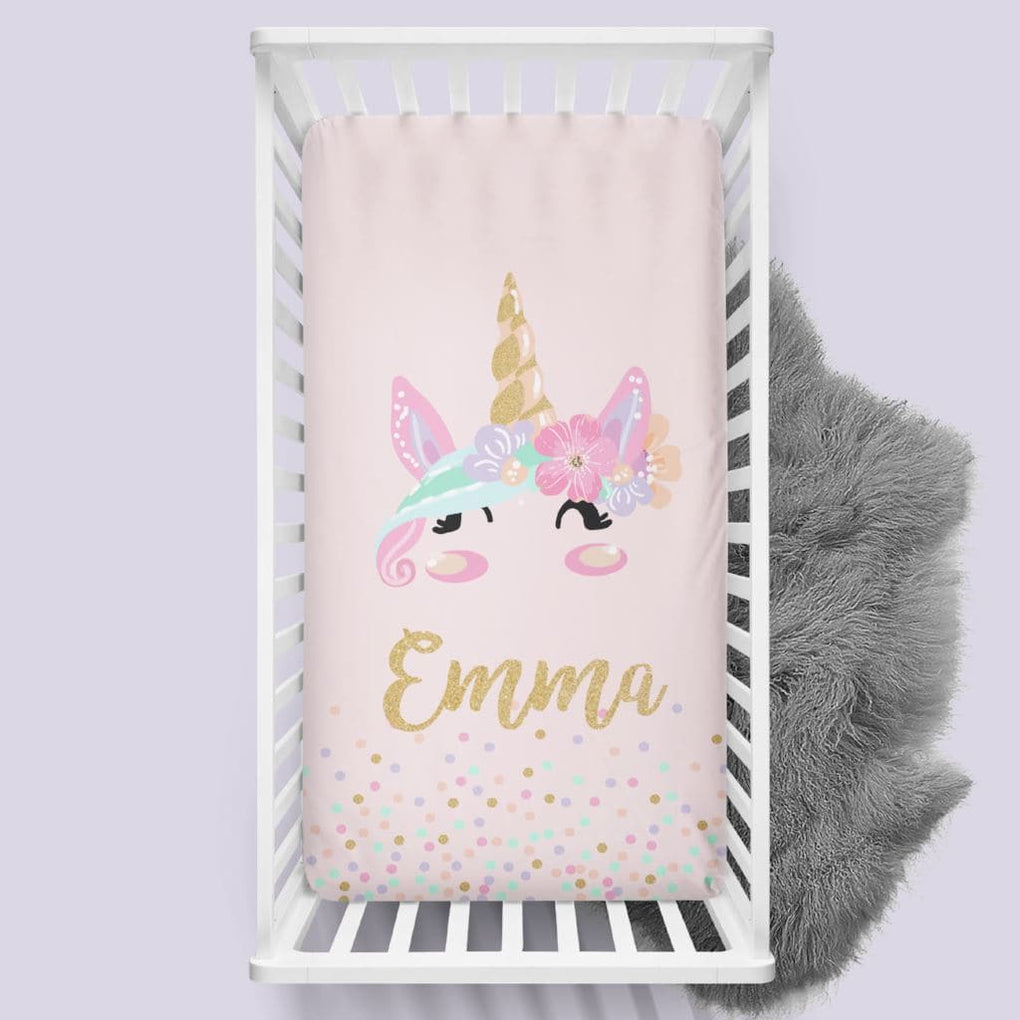 Personalized Pink Unicorn Crib Sheet Changing Pad Covers Modified Tot