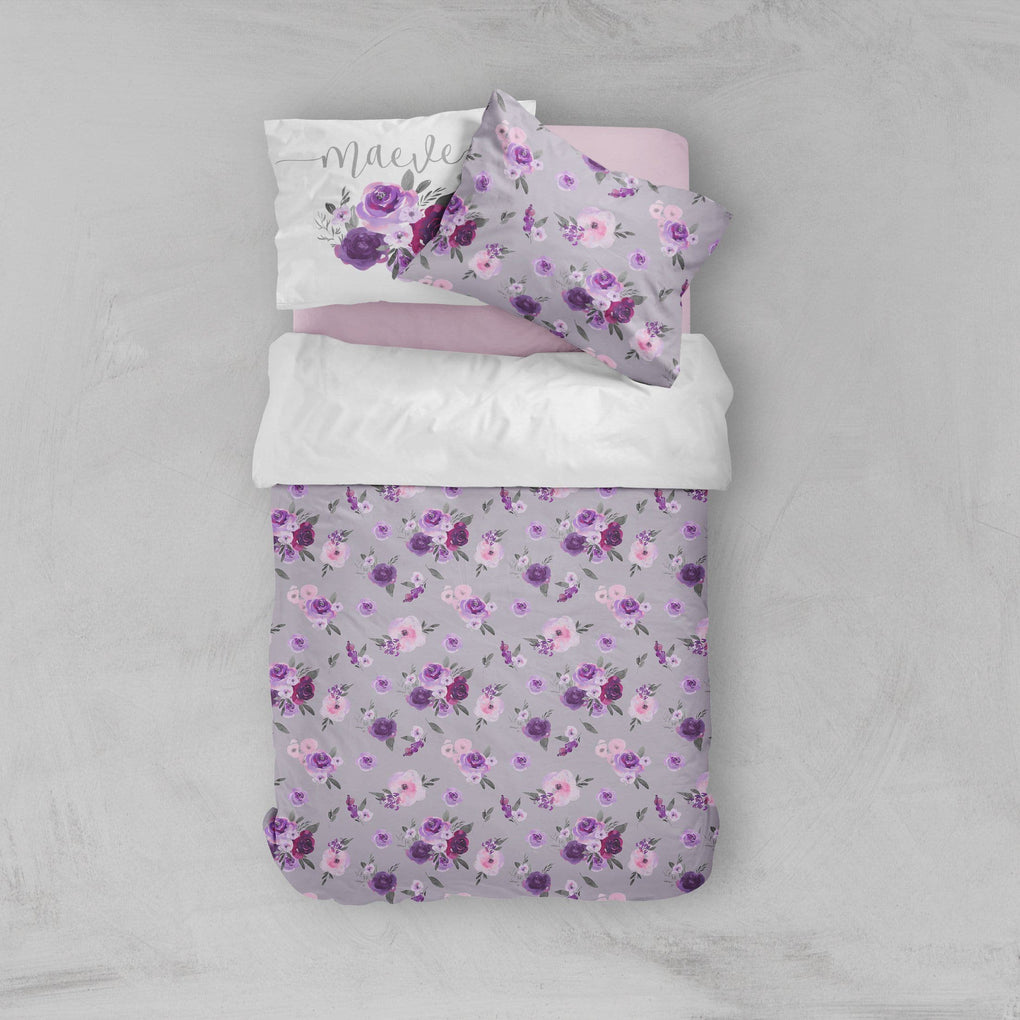 Personalized Purple Floral Big Kid Bedding Set Big Kid Bedding Modified Tot