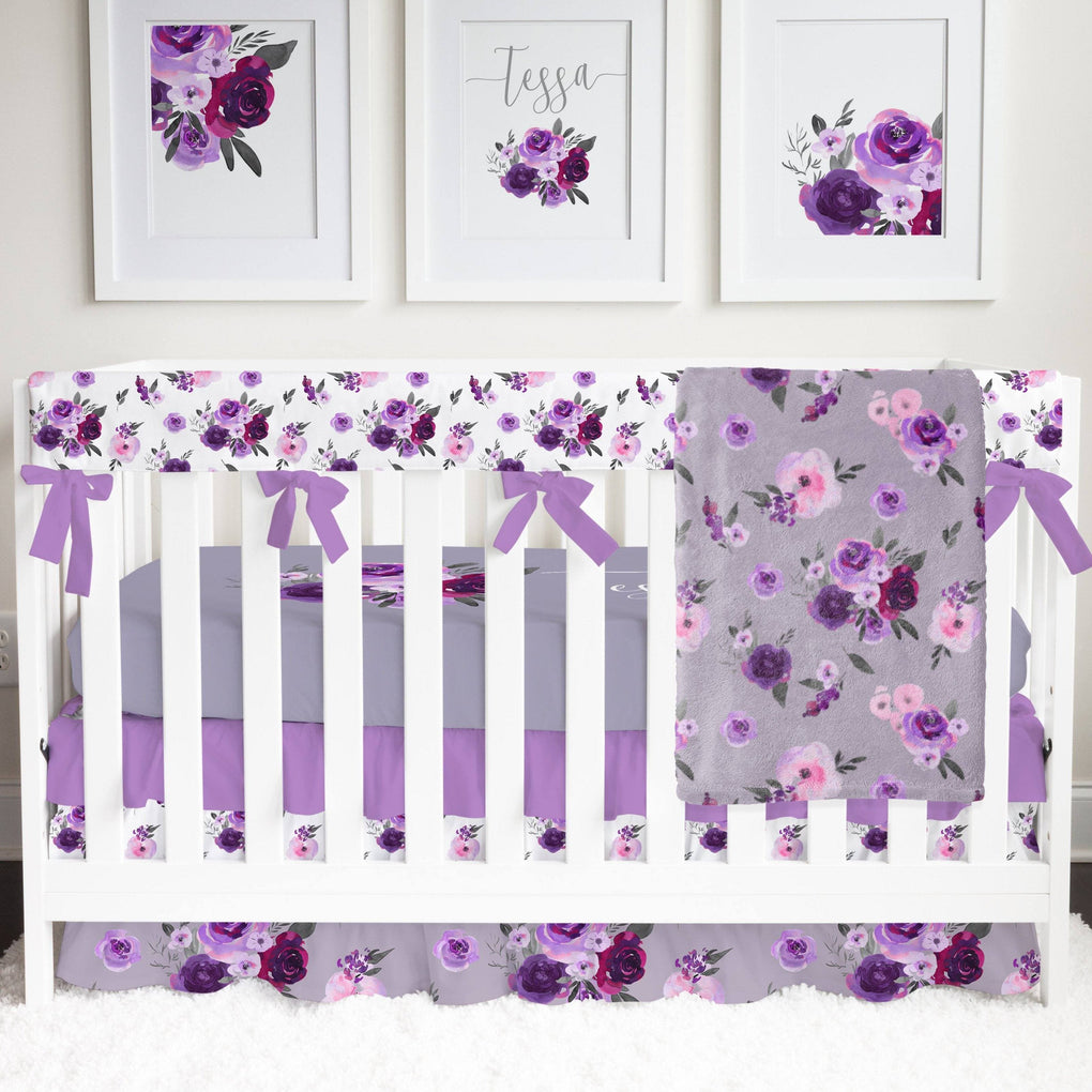 Personalized Purple Floral Crib Sheet Crib Sheet Modified Tot