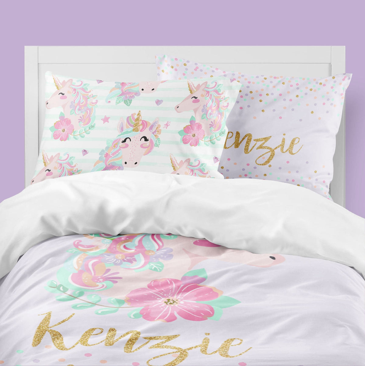 Personalized Purple Unicorn Big Kid Bedding Set Modified Tot