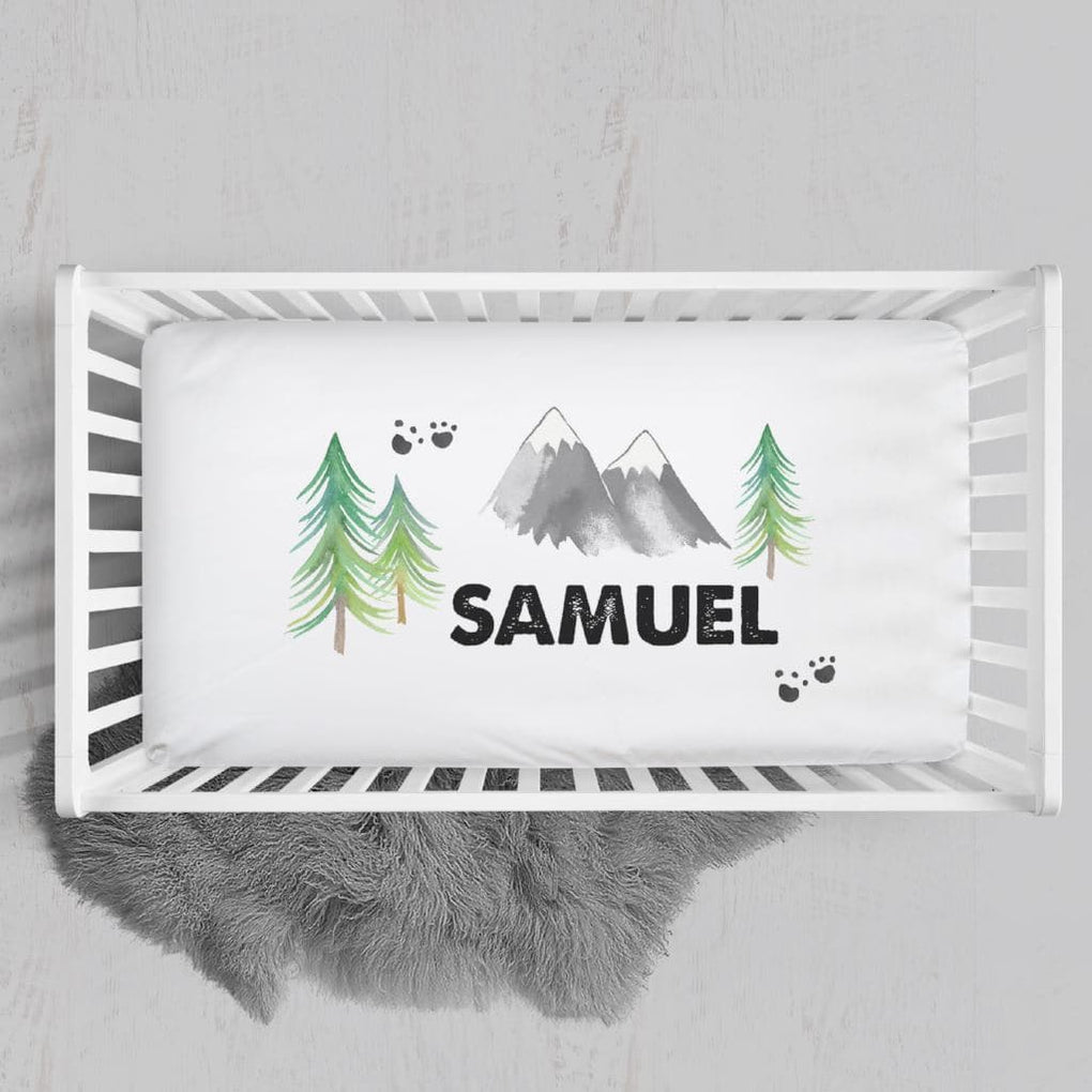 Personalized Rustic Mountain Crib Sheet Changing Pad Covers Modified Tot