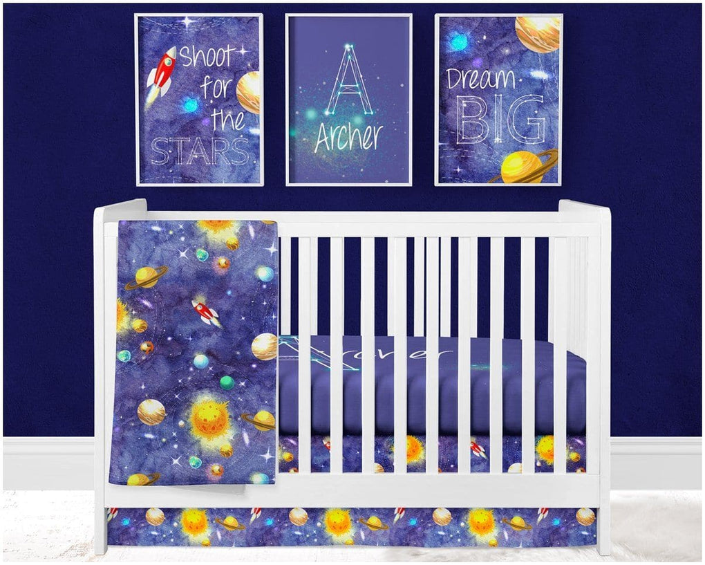Personalized Solar System Crib Sheet Crib Bedding Modified Tot