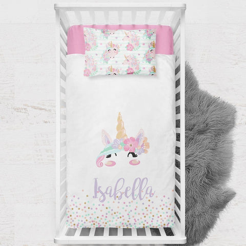 Personalized Unicorn Toddler Bedding Set Big Kid Bedding Modified Tot