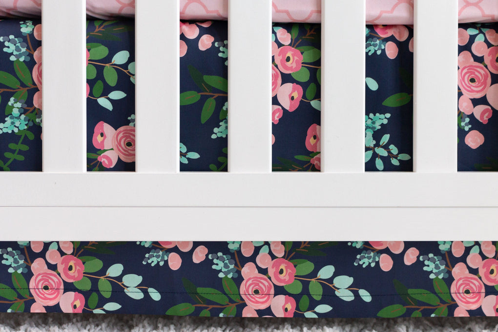 Pink and Navy Petals Crib Bedding Crib Bedding Modified Tot