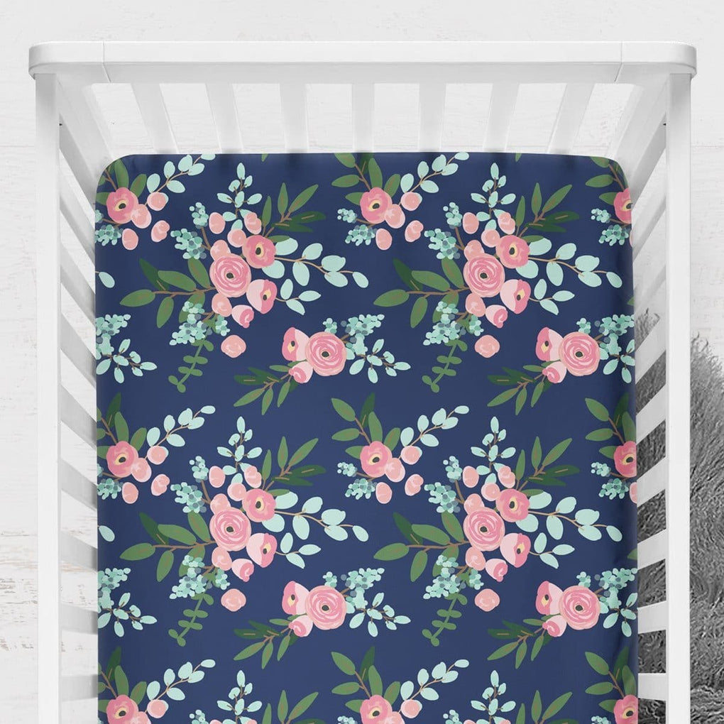 Pink and Navy Petals Crib Sheet Crib Sheet Modified Tot