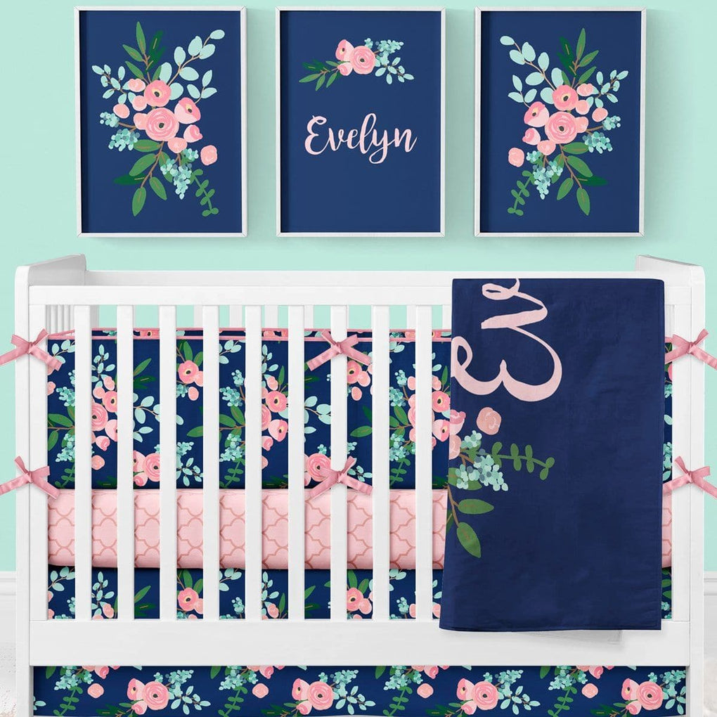 Pink and Navy Petals Crib Skirt Crib Skirt Modified Tot