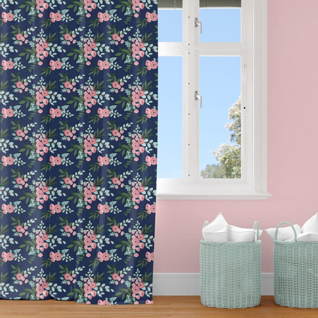 Pink and Navy Petals Curtain Panel Curtain Panels Modified Tot
