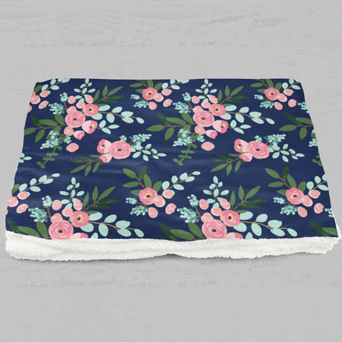 Pink and Navy Petals Minky Blanket Minky Blanket Modified Tot