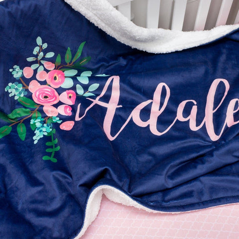 Pink and Navy Petals Personalized Minky Blanket Minky Blanket Modified Tot