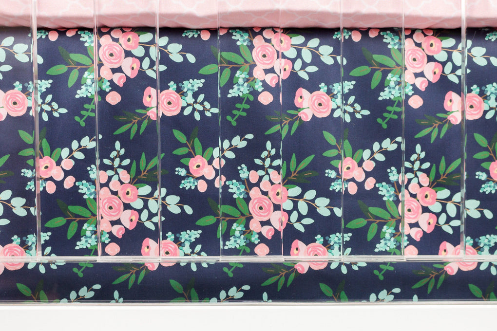 Pink and Navy Petals Rail Guard Crib Bedding (4 Pcs: Rail Guards, Sheet, Skirt, Minky Blanket) Crib Bedding Modified Tot