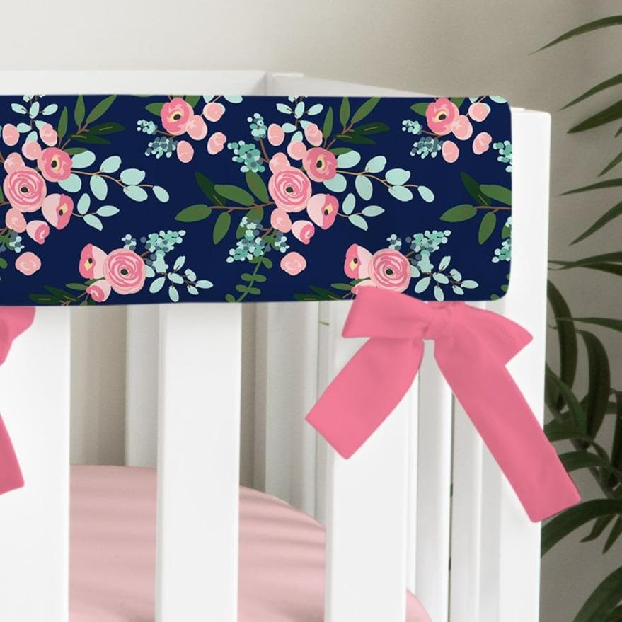 Pink and Navy Petals Rail Guard Ruffled Crib Bedding Crib Bedding Modified Tot