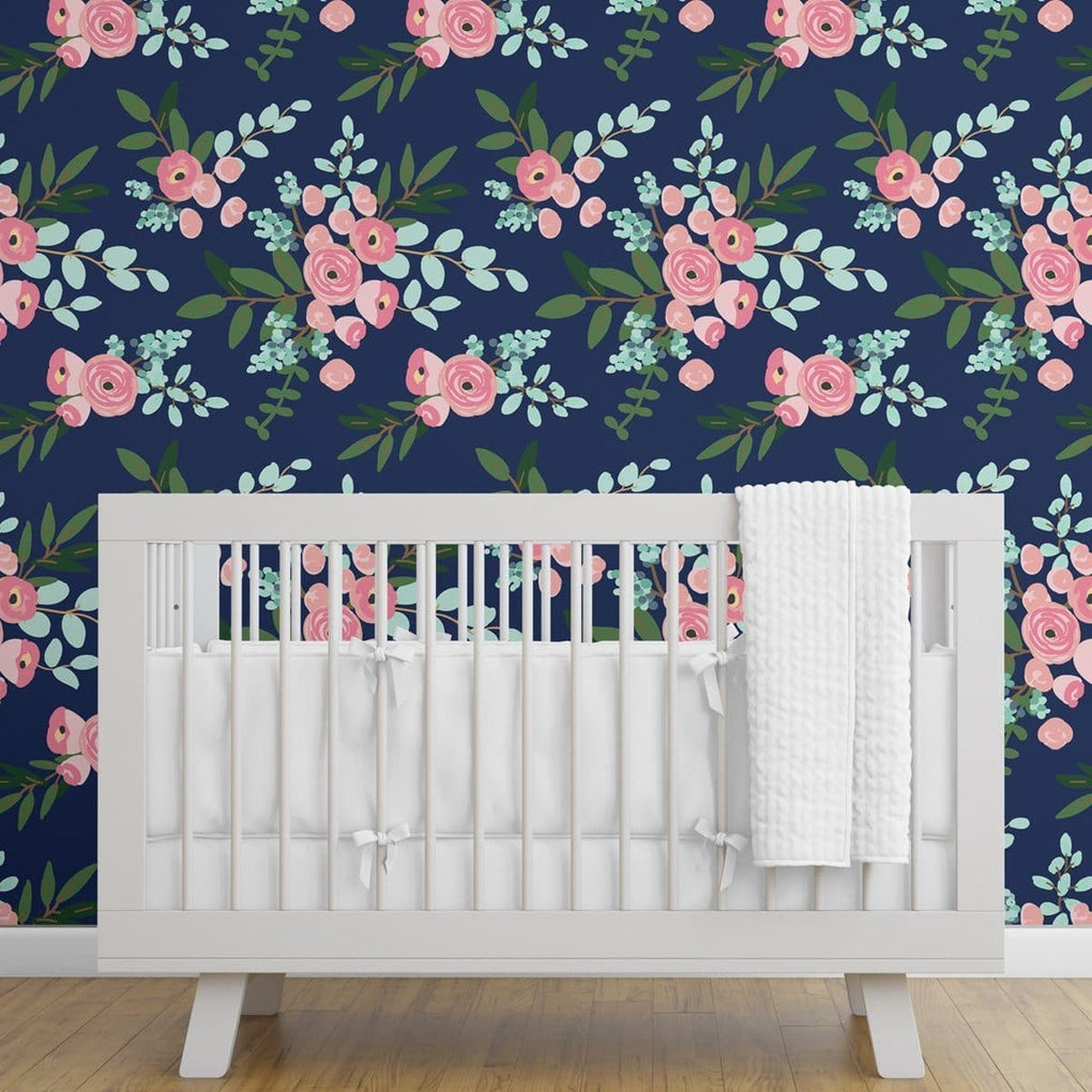 Pink and Navy Petals Removable Wallpaper Wallpaper Modified Tot