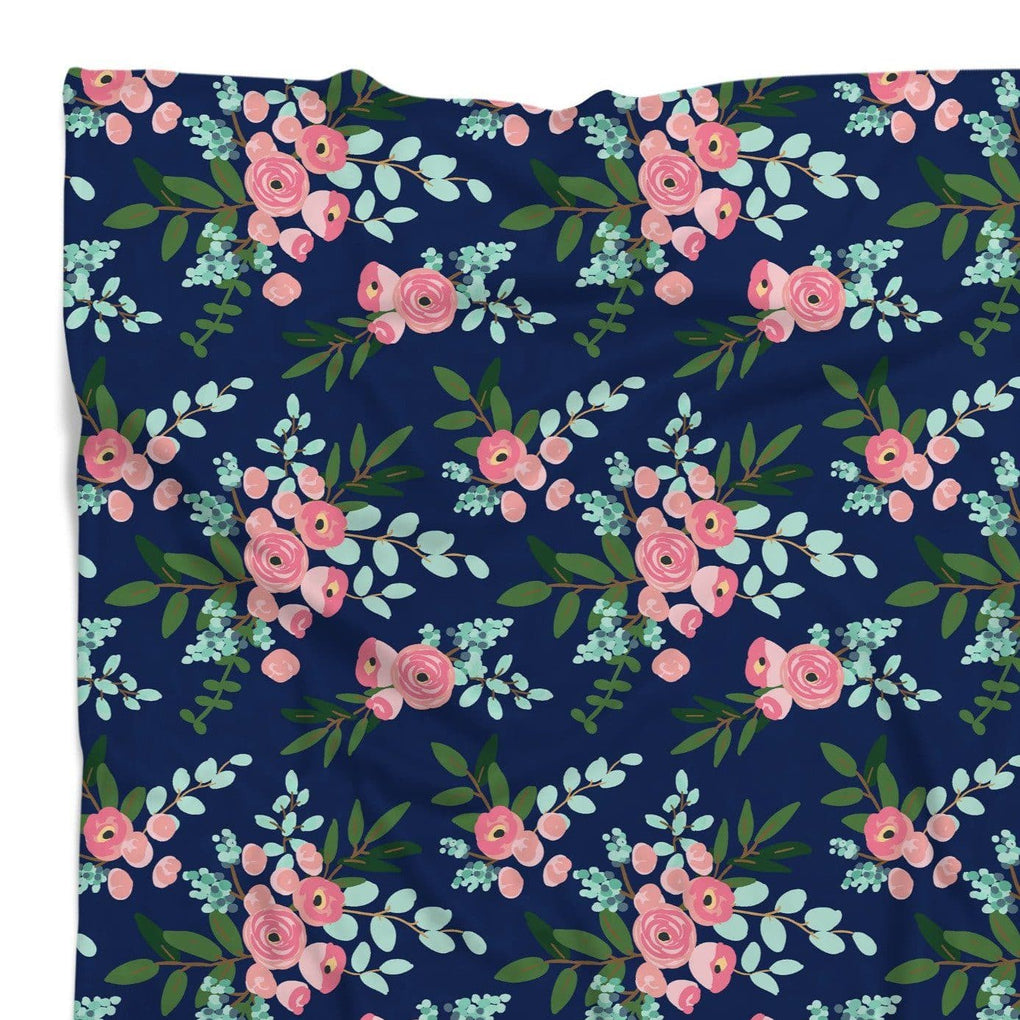 Pink and Navy Petals Ruffled Crib Bedding Crib Bedding Modified Tot