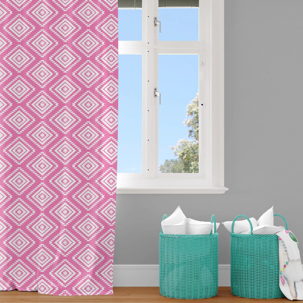Pink Aztec Curtain Panel Curtain Panels Modified Tot