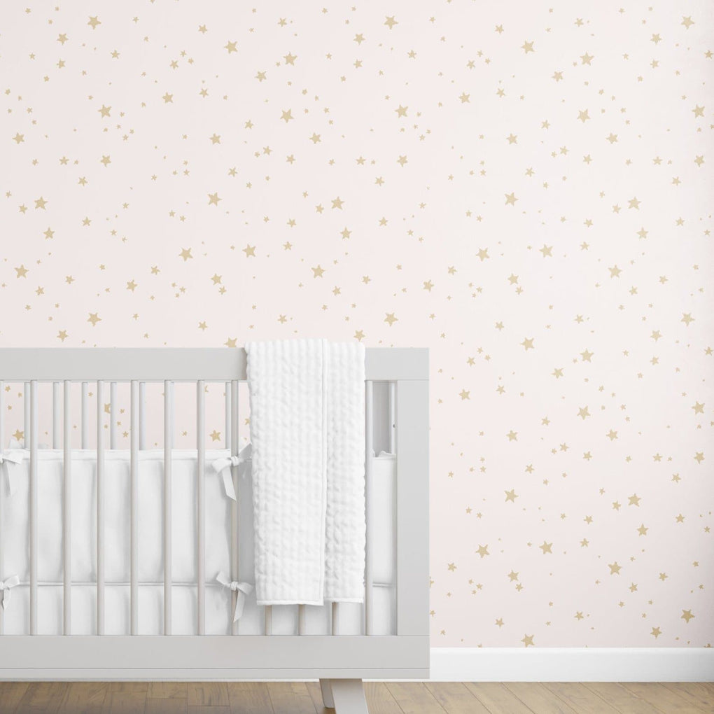 Pink & Gold Stars Removable Wallpaper Wallpaper Modified Tot