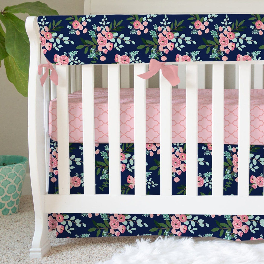 Pink & Navy Petals Milestone Blanket Minky Blanket Modified Tot