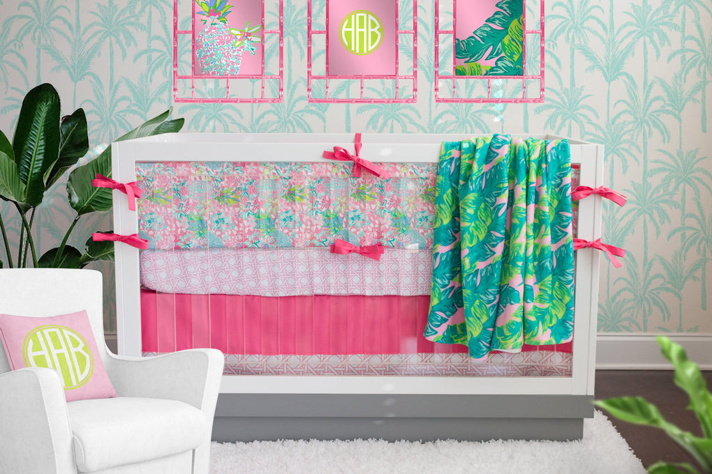 Preppy Summer Monogrammed Crib Sheet Crib Sheet Modified Tot