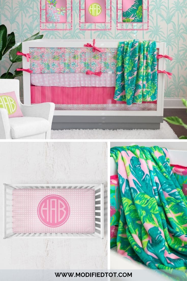 Preppy Summer Palm Curtain Panel Curtain Panels Modified Tot