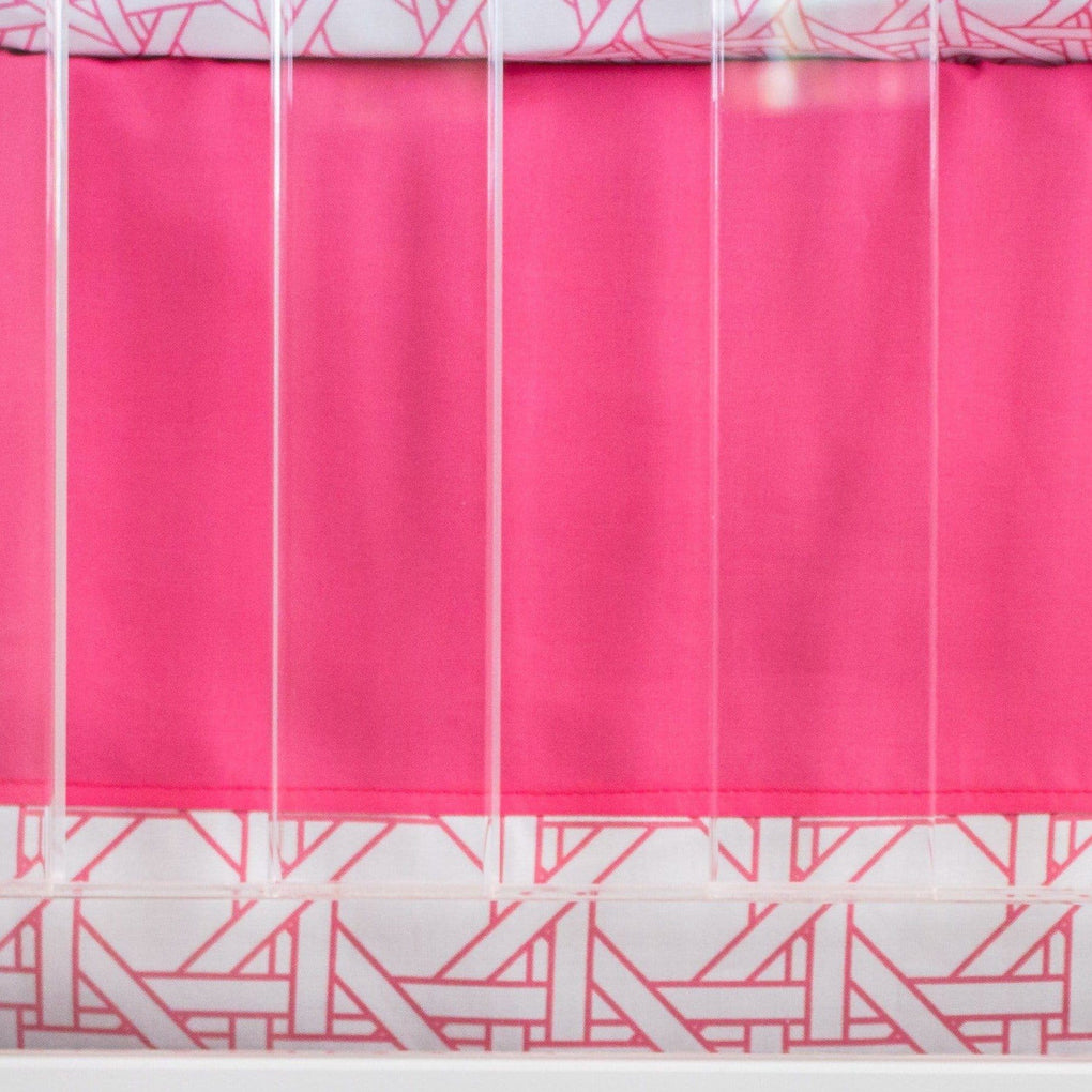 Preppy Summer Pink Crib Skirt Crib Skirt Modified Tot